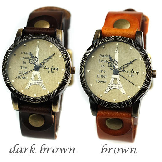 Retro Eiffel Tower Leather Leisure Watches - lilyby
