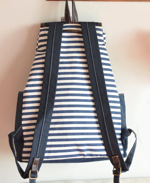 New School Navy Bowknot Striped Backpacks - lilyby