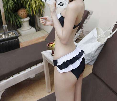 Pretty Black And White Split Bikini & Swimsuit - lilyby