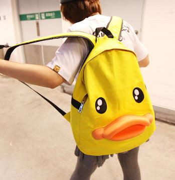 Funny Cute Yellow Duck Canvas Backpack - lilyby