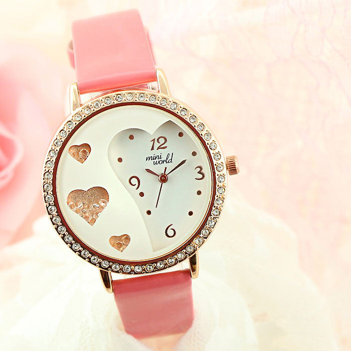 Lover Rhinestone Trim Pretty Crystal Watches - lilyby
