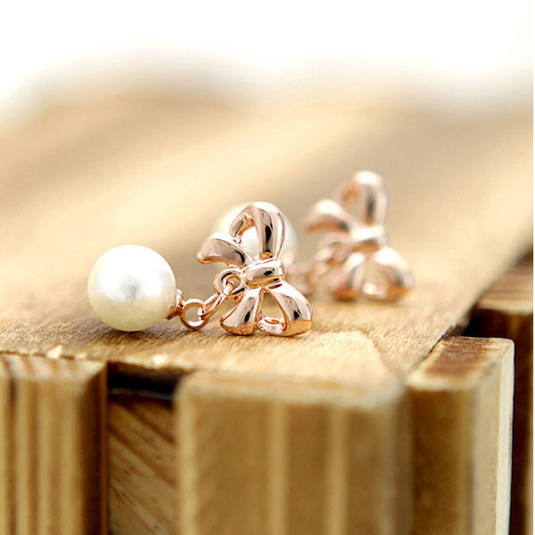 New Graceful Bowknot Pearl Earrings - lilyby