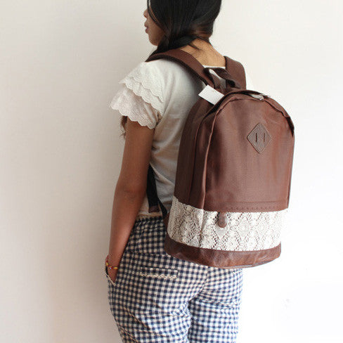 School Cute Spliced Lace Backpack - lilyby
