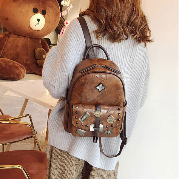 Retro Badge Rivet Single Buckle British Style Student Bag School PU Backpack