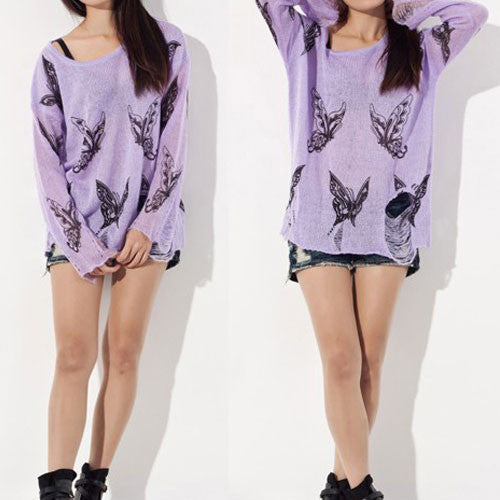 Sexy Butterfly Printed  Frayed Knit &Sweater - lilyby