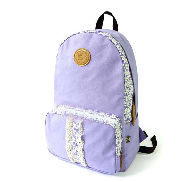 Fresh  Floral Print Lace School Canvas Backpack - lilyby