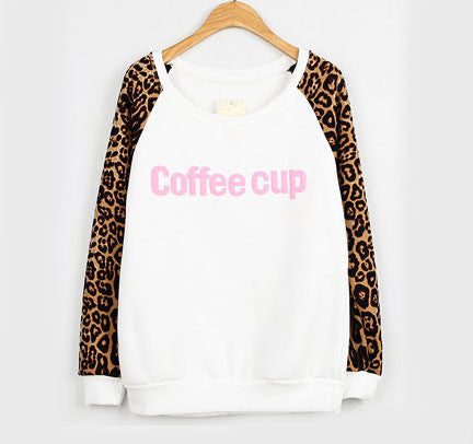 Retro Leopard Print Letters Sweater - lilyby