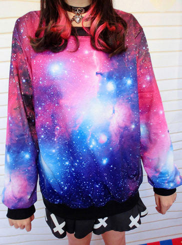 New Universe Star Graffiti Gradient Sleeve Sweater - lilyby