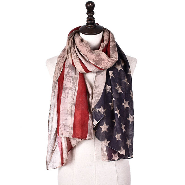 Retro Stars Striped Scarf American Flag Print Women Scarf