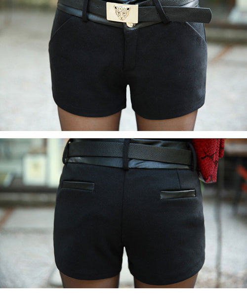 Graceful Leather Stitching Woolen Shorts - lilyby