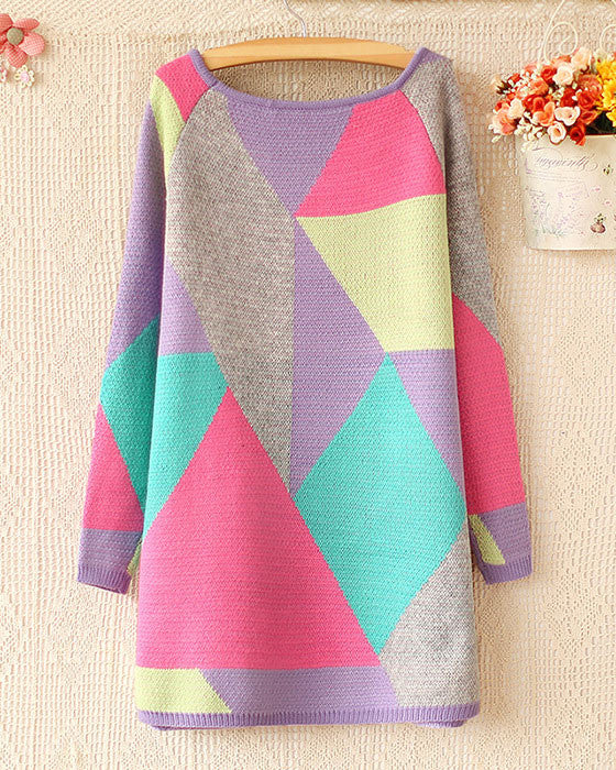Sweet Round Neck Color Geometry Sweater&Cardigan