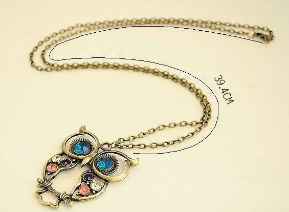 Retro Cute Animal Owl Sweater Necklace - lilyby