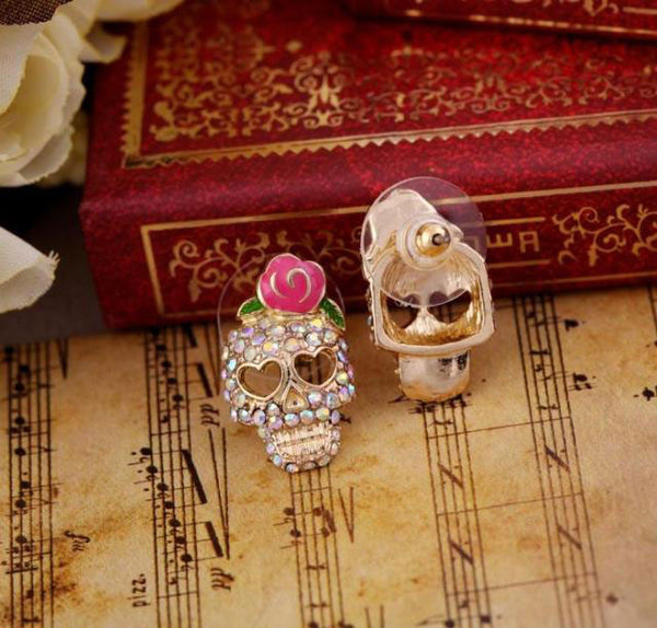 Retro Cool Rose Skull Love Earrings Studs - lilyby
