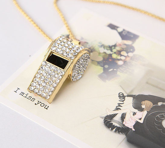 Unique Pretty Rhinestone Whistle Necklaces