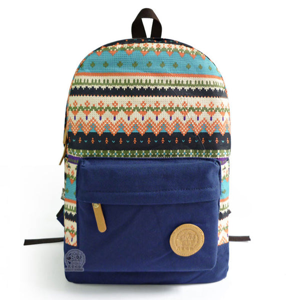 Retro Snowflake Geometry Canvas College Backpack - lilyby