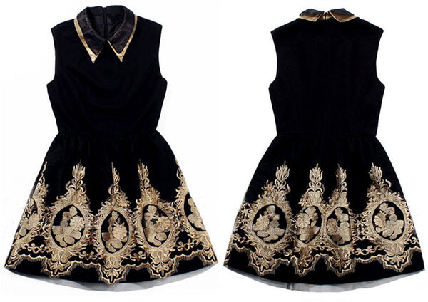 Unique Gold Thread Embroidery Dress &Party Dress