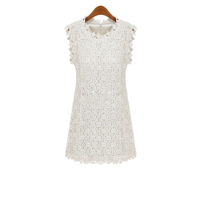 Fresh Pierced Lace Sleeveless Dress - lilyby