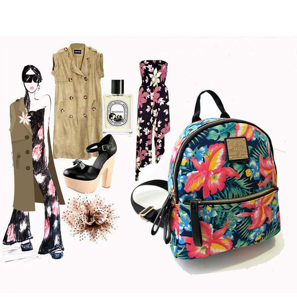 New Rivet Floral Printing Canvas Backpack - lilyby
