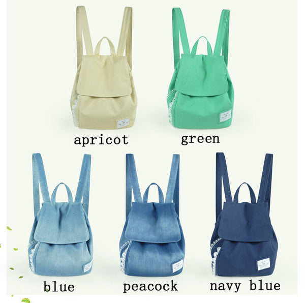 Fresh Green Bowknot Lace Denim Canvas Backpack - lilyby