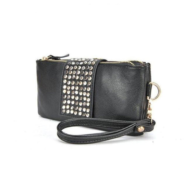 Graceful Black Rivet Zipper Long Clutch - lilyby
