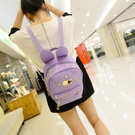 Retro Punk Fashion  Bunny Ears Rivet Backpack - lilyby