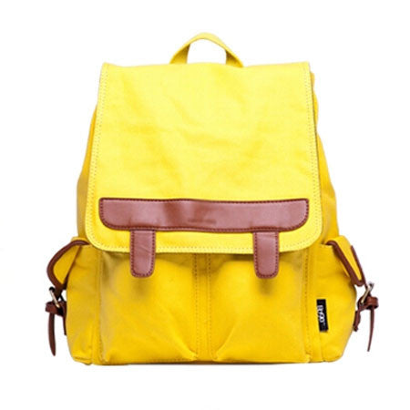 Fashion Leather Contrast Color School Canvas Backpack - lilyby