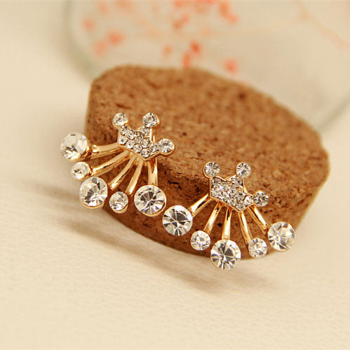 Graceful Crown Bowknot Star Rhinestones Silver Earring - lilyby