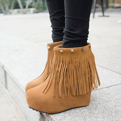 New Rivet Fringed Thick Wedge Heel Shoes - lilyby