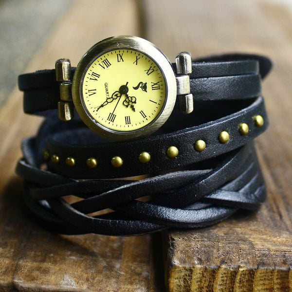 New Woven rivets leather 3 circles retro watch - lilyby