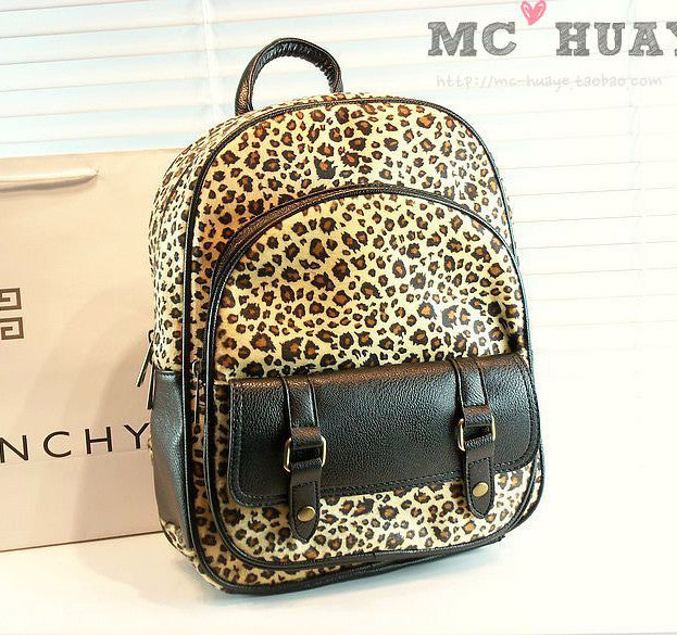 Retro Street Fashion Leopard Print  Backpack - lilyby