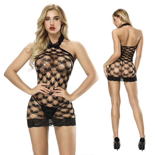 Sexy Hollow Grid Conjoined Intimate Lace Fish Net Women Lingerie