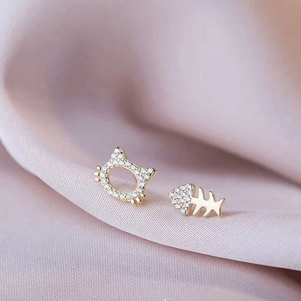 Cute Rhinestone Asymmetrical Cat Fish Bone Silver Women Earrings Studs