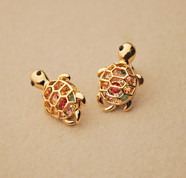 Cute Rhinestone Turtle Animal Earrings Studs