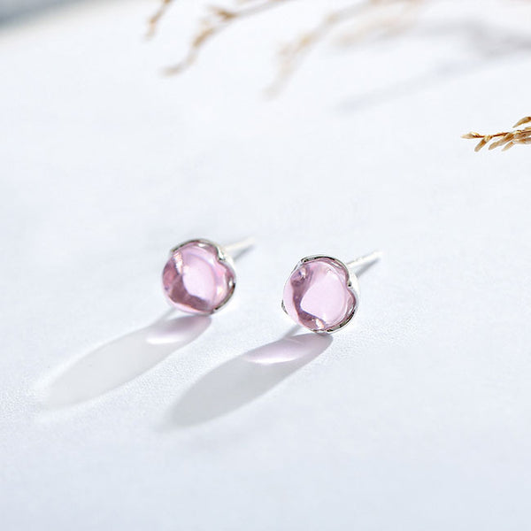 Cute Tear Water Droplets Crystal Silver Women Earrings Studs