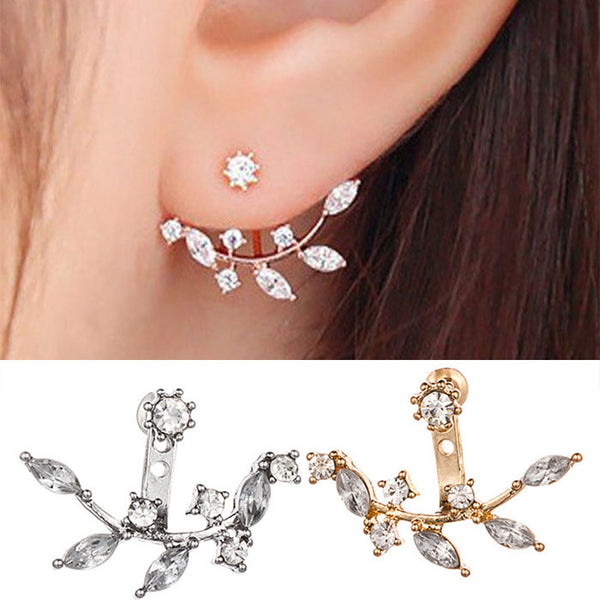 Unique Crystal Leaves Girl's Alloy Earring Studs