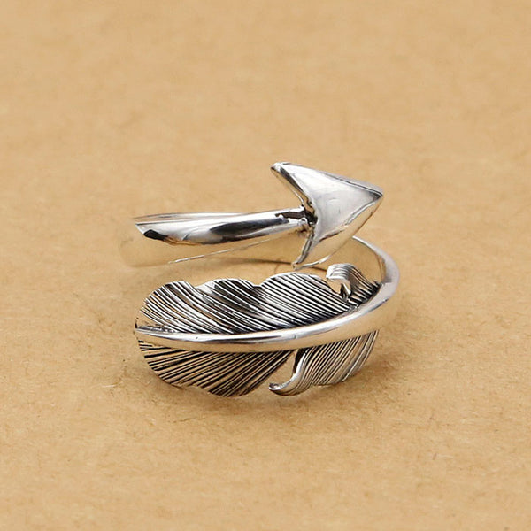 Retro Feather Arrow Feather Silver Open Rings Couple Ring