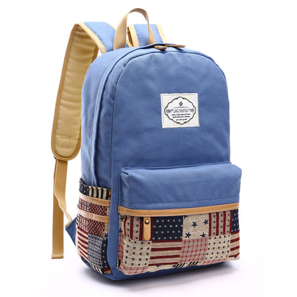Leisure Splice Star Grid School Bag Student Large Canvas Backpacks