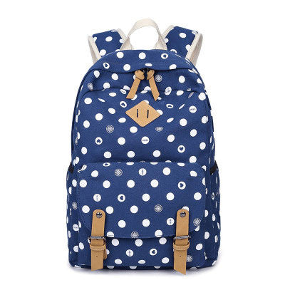 Fashion College Canvas Women's Backpack Leisure Polka Dot Printing Rucksack