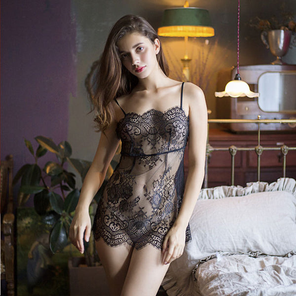 Sexy Hollow Nightdress Perspective Pajamas Pink Lace Transparent Sling Lingerie