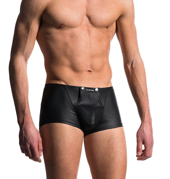 Sexy Man Night Club Shorts Panties Penis Shape Black Leather Underwear Men's Lingerie