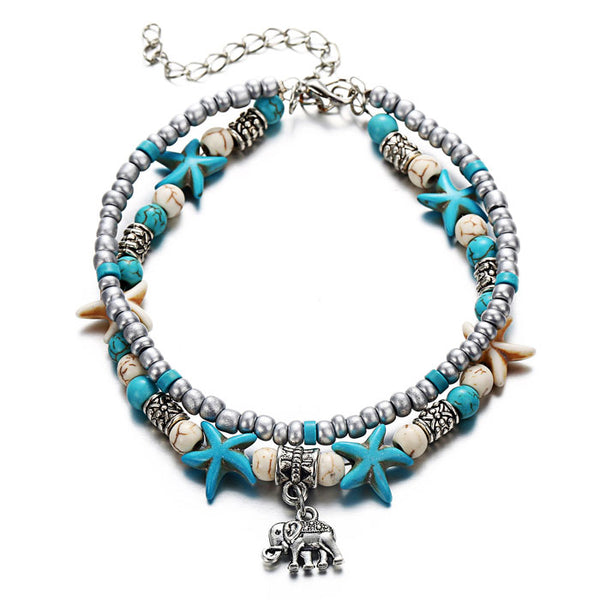New Conch Starfish Yoga Beach Tortoise Bracelet Foot Accessory Anklet Elephant Pendant Double Anklet