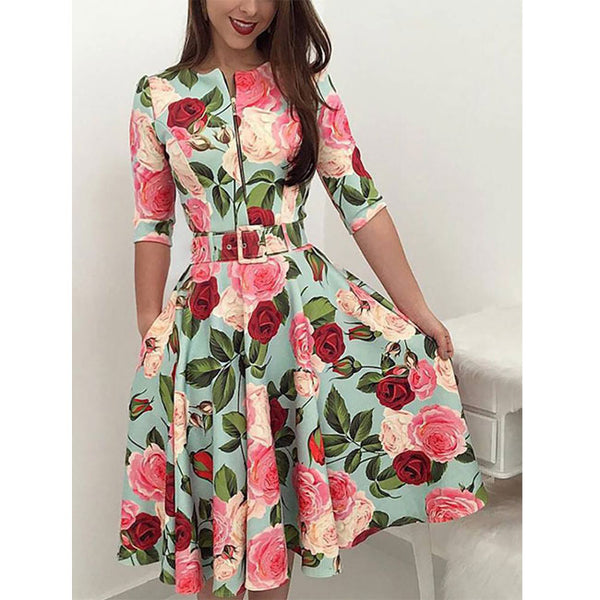 Fashion Rose Leaf Print Middle Sleeve Red Flower Summer Dress