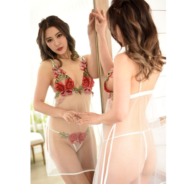 Sexy Bra Underwear Flower Transparent Pajamas Nightdress Rose Embroidery Teen Lingerie