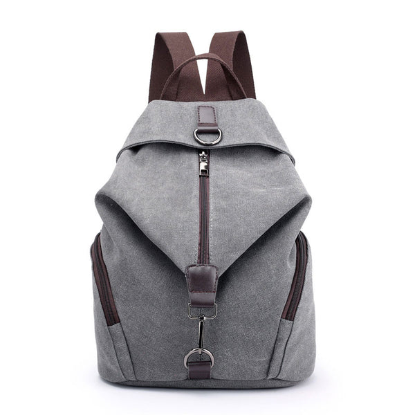 Retro Folds Single Buckle Multi-function Canvas School Backpack