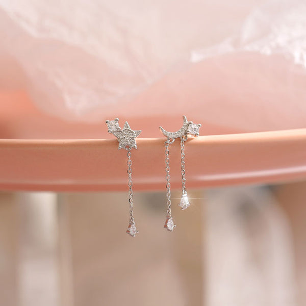 Cute Shining Star Moon Crystal Asymmetry Tassel Drop Women's Silver Earrings Studs