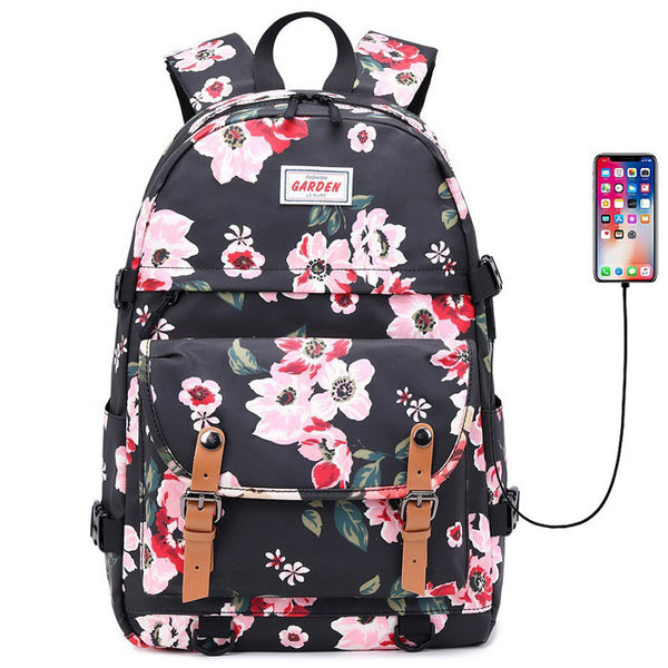 Fresh Double Buckle Flower Print Waterproof Junior School Bag Rucksack Large Capacity Backpack