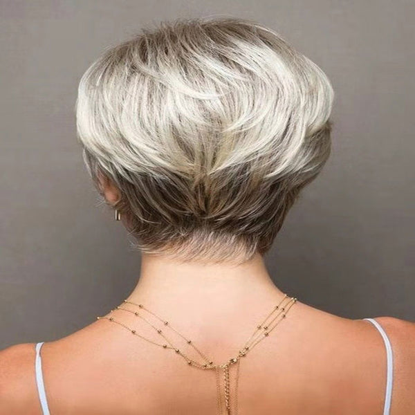 New Brown Short Little Curly Hair Lifelike Mature Women's  Lace Hair Wig