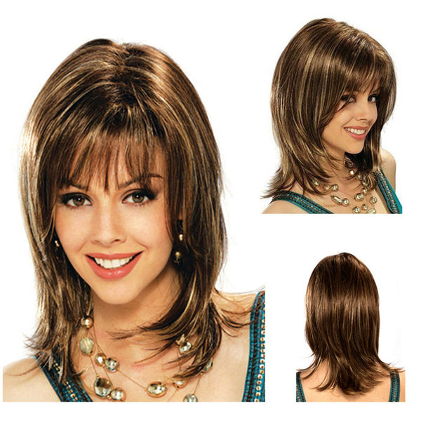 New Brown Gradient Light Golden Bangs Long Slightly Curly Hair Hood Teen Hair Wig