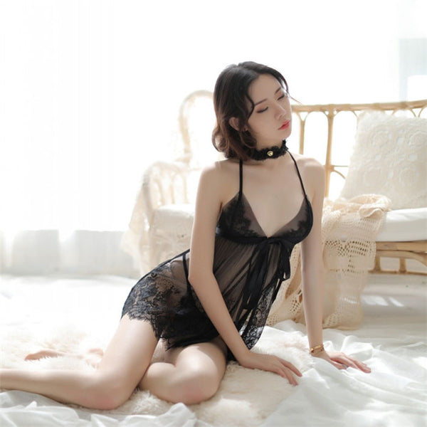 Sexy Slit Bow Perspective Mesh Nightdress Lace Pajamas Sling Women's Lingerie