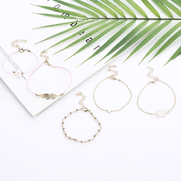 New Leaves Feather Lotus Alloy Pearl Love Five Piece Set Bracelet